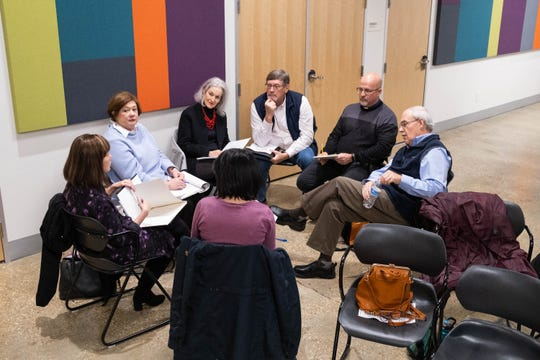 A group of local spiritual leaders does group work during an Enneagram workshop, Thursday, Jan. 30, 2020, in Memphis.