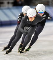 Mia Kilburg, a 2018 Olympic bronze medalist in the team pursuit, leads teammates through a turn in practice for the Four Continents Speedskating Championship on Thursday at the Pettit Center.