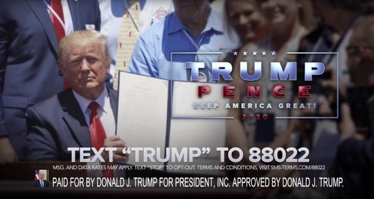 This undated image provided by President Donald Trump's campaign shows a scene from Trump's 2020 Super Bowl NFL football spot.