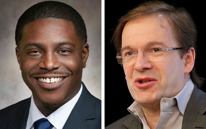 Rep. David Crowley, a candidate for Milwaukee County executive, left, and current County Executive Chris Abele, right.
