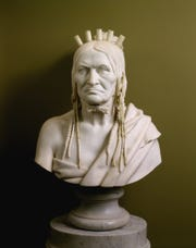 This marble bust of Chief Buffalo, created in 1856 by Italian sculptor Francis Vincenti, is on display in the Senate wing of the U.S. Capitol building.