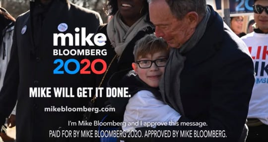 This undated image provided by Michael Bloomberg's campaign shows a scene from Bloomberg's 2020 Super Bowl NFL football spot.