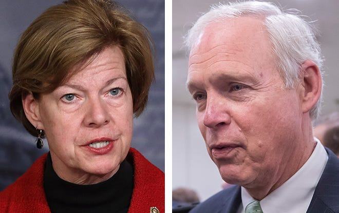 Wisconsin's U.S. senators Tammy Baldwin, left, a Democrat, and Ron Johnson, a Republican, are taking opposite positions on whether the Senate should call additional witnesses in the impeachment trial of President Donald Trump.