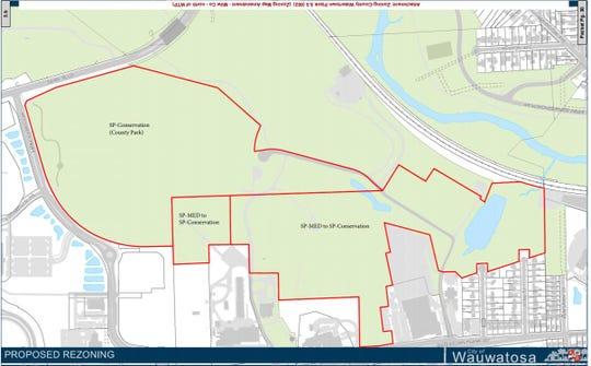This shows the area of the County Grounds Park in Wauwatosa, which could soon have a conservation restriction.