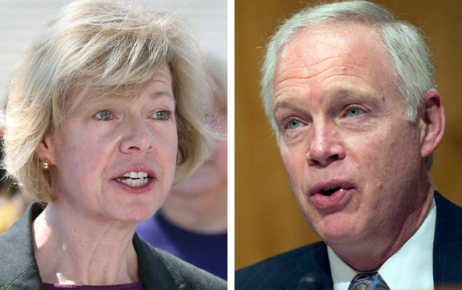 Wisconsin U.S. senators Tammy Baldwin, left, a Democrat, and Ron Johnson, right, a Republican, are taking different paths to help businesses get back on their feet as the coronavirus pandemic stretches on.