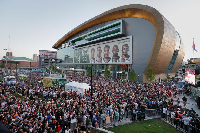 Thousands of Milwaukee Bucks fans descend on Fiserv Forum in Milwaukee last May to watch game 6 of the NBA Eastern Conference finals between the Milwaukee Bucks and Toronto Raptors in Toronto. If the Bucks go to the Finals this year, it will keep Fiserv Forum busy until shortly before the Democratic National Convention.