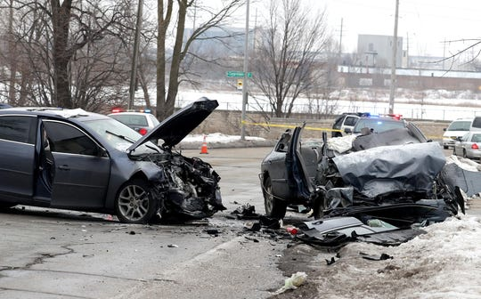 At least seven people, including four children, were injured Friday after a two-car crash in the 4400 block of North Hopkins Street on Milwaukee's west side. Emergency crews were dispatched to the crash at 10:39 a.m.