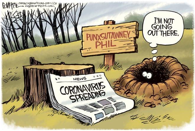 Opinion carton for 2-1: Coronavirus Groundhog