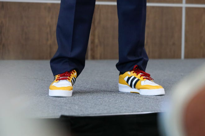 University of Louisiana System President Jim Henderson wore sneakers that adidas custom made for the Grambling State University marching band while giving closing remarks at the For Our Future conference. The event pulled ULS employees from around the state and was hosted at the University of Louisiana Monroe.