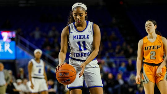 MTSU's Aislynn Hayes prepares to shoot a pair of free throws near the end of the game against UTEP. Hayes scored a career-high 24 points lead the Lady Raiders past the Miners on January 30, 2020.