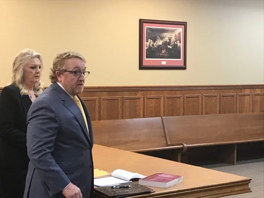 Debbie Moss, left, with attorney Frank Lannom, right, at a hearing Friday, Jan. 31, 2020, in Wilson County. A judge dismissed a DUI charge and two related charges issued after she left a fundraiser in September.