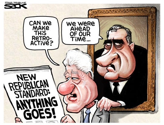 Clinton and Nixon wish for GOP's new standard.