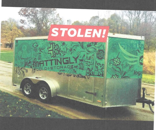 """The Licking County Sheriff's Office reports a green """"Mattingly"""" work trailer was stolen in Thornville in December."""