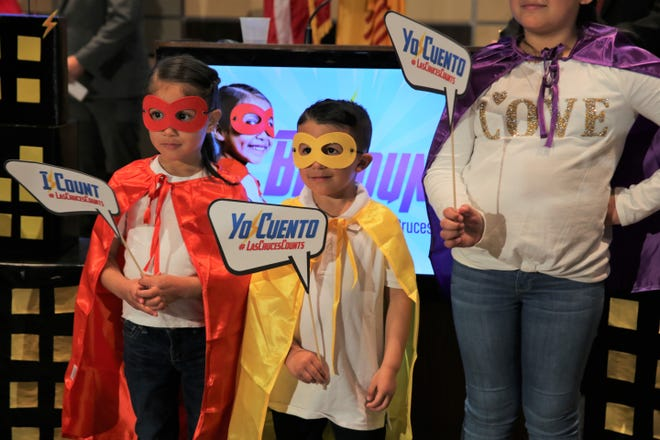"Camila Piste, 5, and Adrian Pedroza, 5, are decked out in superhero gear at Las Cruces City Hall for the kickoff of the city's census campaign, ""Be Counted,"" on Friday, Jan. 31, 2020."