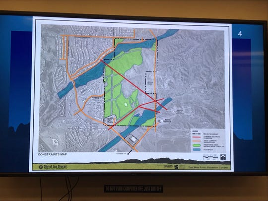 The green area shows undisturbed desert located on the parcel where the East Mesa Public Recreation Complex will be built. The green desert area most likely won't be built on. The map was presented at a public meeting for the complex Jan. 30, 2020.