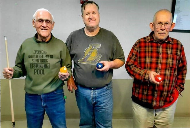 Pictured from left to right are the January 2020 eight-ball billiard's tournament winners: 1st place Max Lucero, 2nd place Steve Richards and 3rd place Fred Harris.
