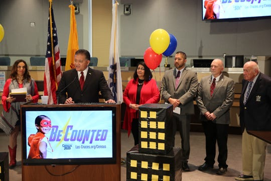 Las Cruces Mayor Ken Miyagishima delivers remarks on the importance of getting an accurate 2020 census count at a news conference on Friday, Jan. 31, 2020 surrounded by local government leaders.