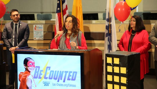 District 1 City Councilor Kasandra Gandara delivers remarks in the council chambers at the kickoff for the city and county's local census campaign on Jan. 31, 2020.