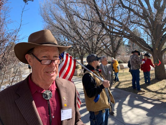 Former state Rep. Rick Little of Chaparral attended a rally against the Extreme Risk Firearm Protection Order bill outside the New Mexico Capitol building on Friday, Jan. 31, 2020.