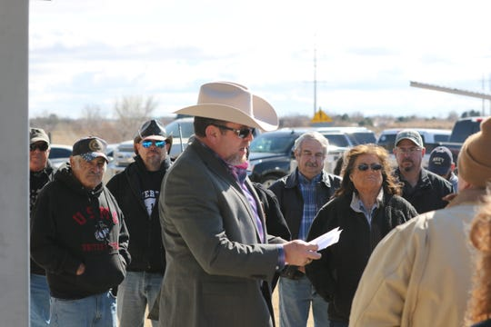 Eddy County Sheriff Mark Cage gives a speech to 2nd Amendment supporters Friday during a Carlsbad rally.