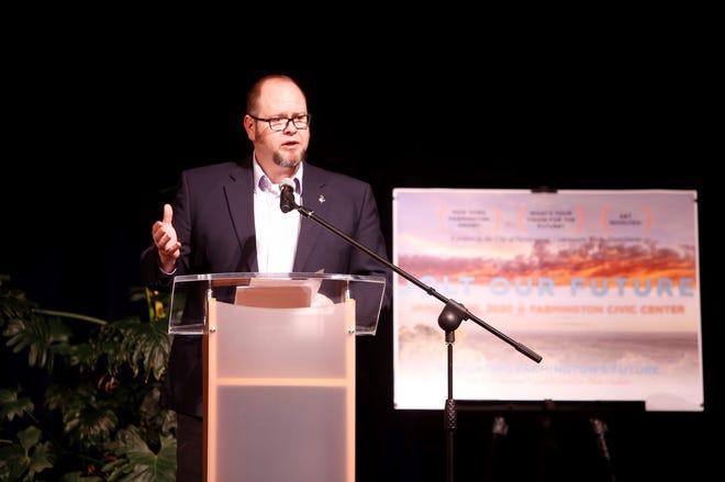 Farmington Mayor Nate Duckett talks about the format for the Jolt Our Future event on Jan. 30 at the Farmington Civic Center.