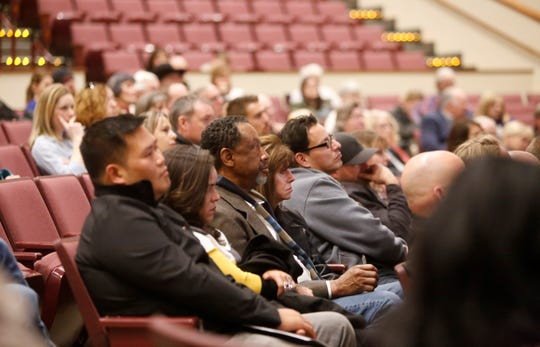 Members of the audience listen to a presentation about broadband connectivity during Jolt Our Future on Jan. 30 at the Farmington Civic Center.