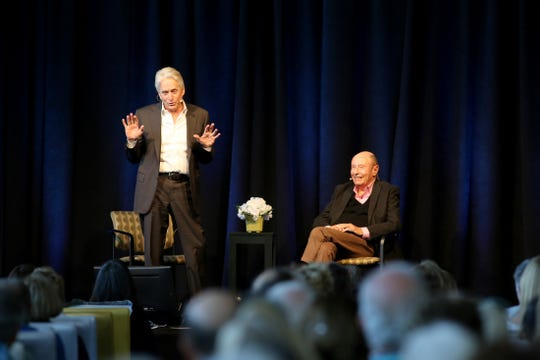 Michael Douglas, left, and moderator Peter Bart give a presentation during the Ranch Mirage Writers Festival at the Rancho Mirage Library in Rancho Mirage, Calif., on Friday, January 31, 2020.