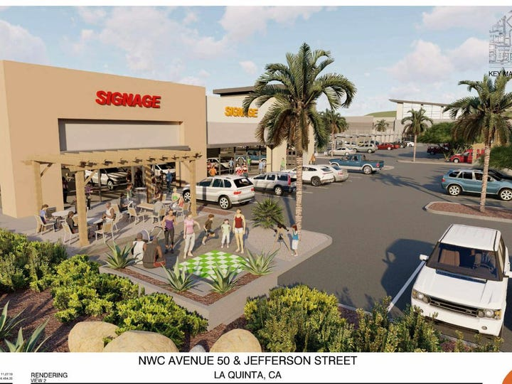 Rendering of the proposed Pavilion Palms shopping center in La Quinta.