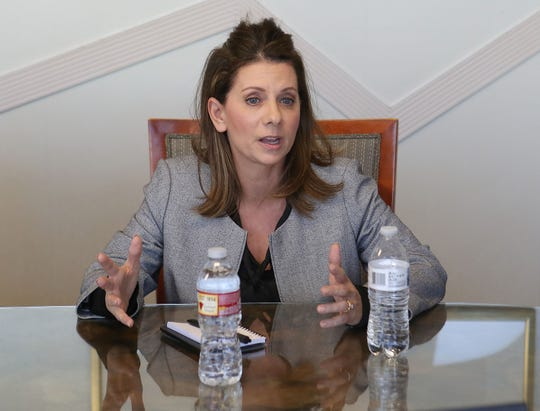 Melissa Melendez speaks with The Desert Sun editorial board in Palm Springs, January 31, 2020.