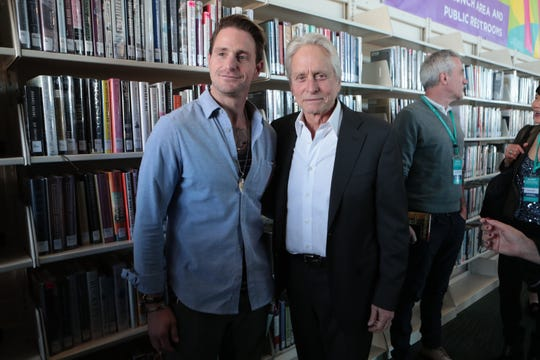 Cameron Douglas, left, and his father Michael Douglas are photographed at the Ranch Mirage Writers Festival at the Rancho Mirage Library in Rancho Mirage, Calif., on Friday, January 31, 2020.