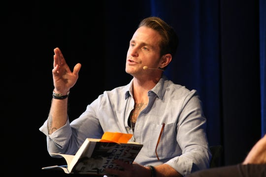 Cameron Douglas speaks at the Ranch Mirage Writers Festival at the Rancho Mirage Library in Rancho Mirage, Calif., on Friday, January 31, 2020.