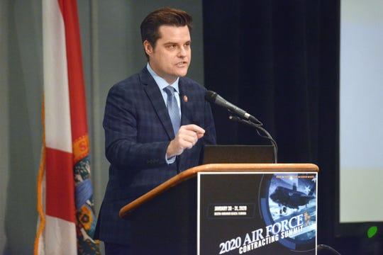 U.S. Rep. Matt Gaetz speaks Friday during the 2020 Air Force Contracting Summit at the Sandestin Hilton.