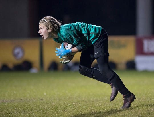 Aggies goalie Caleb Thompson (1) makes a save during the Tate vs Catholic boys soccer game at Pensacola Catholic High School in Pensacola on Wednesday, Jan. 29, 2020.
