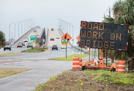 The Bob Sikes Bridge between Gulf Breeze and Pensacola Beach is pictured Friday. Escambia County's $4.7 million rehabilitation of the bridge is set to begin on Wednesday.