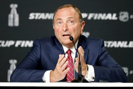 May 27, 2019; Boston, MA, USA; NHL commissioner Gary Bettman speaks at a press conference before game one of the 2019 Stanley Cup Final between the Boston Bruins and the St. Louis Blues at TD Garden. Mandatory Credit: Winslow Townson-USA TODAY Sports