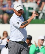 January 30, 2020; Scottsdale, AZ, USA; J.B. Holmes reacts after making a birdie on the 18th hole during first round action on Jan. 30 during the Waste Management Phoenix Open at the TPC Scottsdale Stadium Course. Mandatory Credit: Rob Schumacher/The Republic via USA TODAY NETWORK