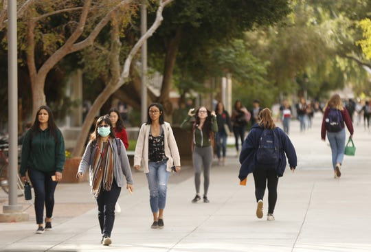 Students make their way to and from classes on ASU's campus in Tempe on Jan. 27, 2020.