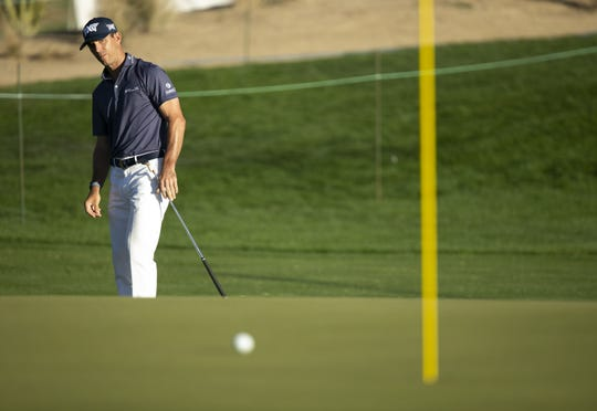 PGA golfer Billy Horschel watches his chip on the seventh hole during the first round of the Waste Management Phoenix Open in Scottsdale on Thursday, Jan. 30, 2020. Billy Horschel is in second place at -8.