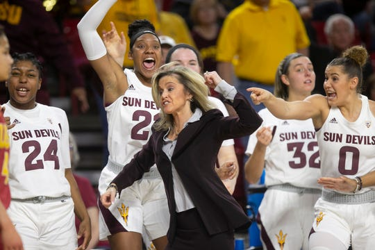 ASU head women's basketball coach Charli Turner Thorne reacts with the bench during a turnover in the fourth quarter of the PAC-12 women's basketball game against USC at ASU Desert Financial Arena in Tempe on Friday, January 31, 2020. ASU won 76-75 in triple overtime. The win marked Turner Thorne's 500th win as the ASU head women's basketball coach.