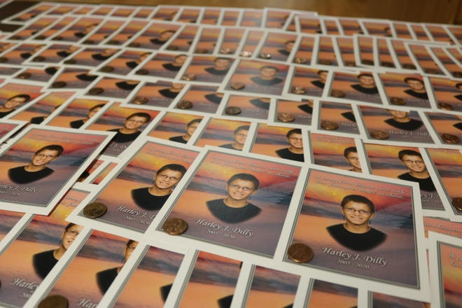 Harley Dilly would walk through Port Clinton dropping pennies along the way, thinking of them as pennies from heaven that could brighten the day for someone who came across them. Photos of the teen shared at his memorial each included a penny for supporters to continue the legacy.