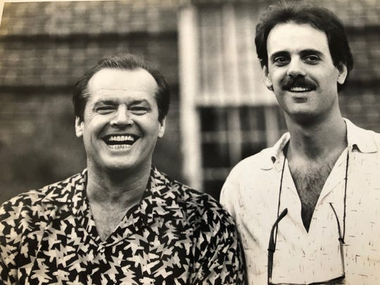 """Actor Jack Nicholson, left, and Richard Baratta on the set of """"Heartburn."""" Baratta worked as assistant location manager on the film."""