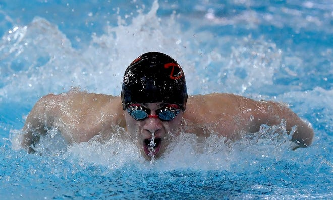 Dover's Austin Smith swims the butterfly leg of the boys 200 medley relay at Susquehannock, Thursday, January 30, 2020.