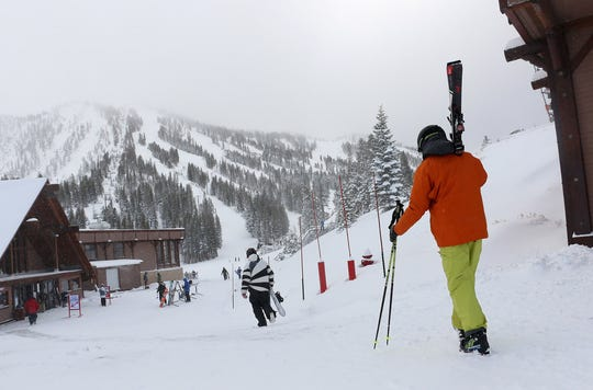 Skiers and snowboarders walk to the lifts at Mt. Rose Ski Tahoe near Reno on Nov. 29. Resorts got more snow on Christmas Eve. Jason Bean/RGJSkiers and snowboarders walk to the lifts at Mt. Rose Ski Tahoe near Reno on Nov. 29, 2018.