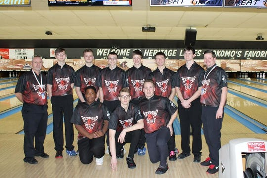 Richmond High School's boys bowling team after its first-ever semi-state championship.  Front row, L-R:  Jason Austin, Ethan Blake, Hunter Burton.  Back, L-R: Head coach Mike Higgins, Ryan Florence, Dustin Muse, Kaleb Ponder, Blake Roscoe, Logan Wadsworth, assistant coach Jeff Maitlen.