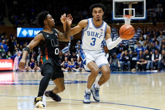 Sophomore guard Tre Jones  averages 14.9 points and 6.8 assists for Duke.