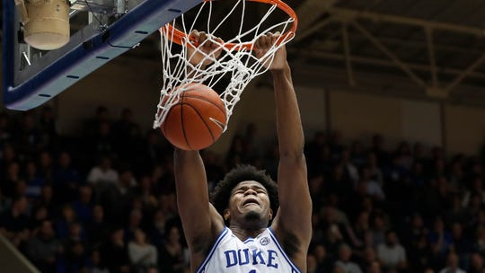 Duke center Vernon Carey Jr. dunks against Pittsburgh during the second half of an NCAA college basketball game in Durham, N.C., Tuesday. Carey is averaging 17.4 points and 8.5 rebounds this season.
