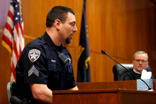 Jacob Pratt gives a statement during the sentencing of Jaime Lee Jimenez, 39, of Salem, for the premeditated, attempted aggravated murder of Salem Police Officer Michelle Pratt, his wife, at the Marion County Courthouse in Salem on Jan. 31, 2020. Jimenez, a convicted felon already, shot Officer Pratt multiple times during a traffic stop in May 2019 and was sentenced to more than 28 years in prison.
