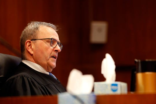 Judge Thomas Hart speaks during the sentencing of Jaime Lee Jimenez, 39, of Salem, for the premeditated, attempted aggravated murder of Salem Police Officer Michelle Pratt during a traffic stop in May 2019.