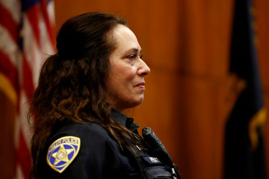 Salem Police Officer Michelle Pratt gives a statement before Jaime Lee Jimenez, 39, of Salem, is sentenced to more than 28 years in prison for shooting Pratt in May 2019.