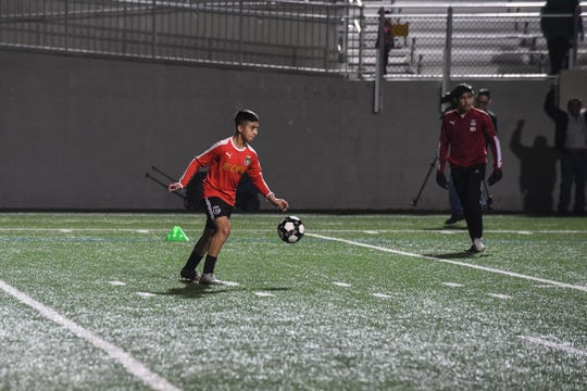 Jose Vasquez looks to turn upfield after a throw-in. Jan. 29, 2020.